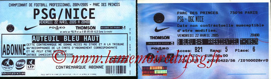 Tickets  PSG-Nice  2004-05