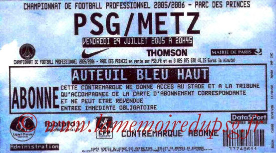 Ticket  PSG-Metz  2005-06