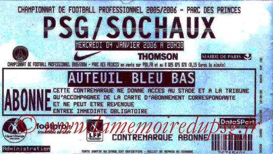 Ticket  PSG-Sochaux  2005-06