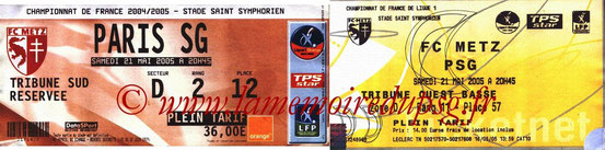 Tickets  Metz-PSG  2004-05