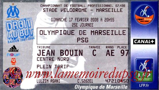 Ticket  Marseille-PSG  2007-08