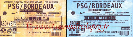 Tickets  PSG-Bordeaux  2004-05