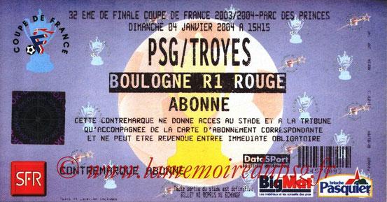 Ticket  PSG-Troyes  2003-04