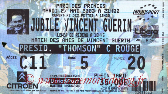 Ticket  Jubilé Vincent Guérin  2002-03