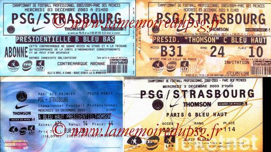 Tickets  PSG-Strasbourg  2003-04