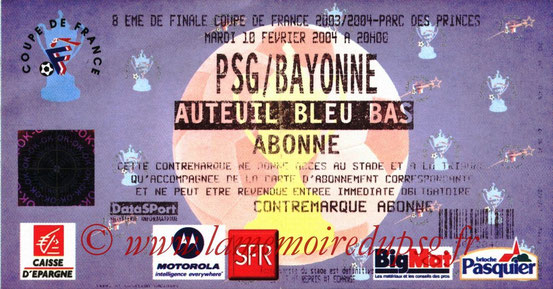 Ticket  Bayonne-PSG  2003-04