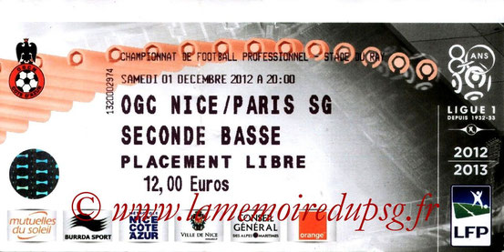 Ticket  Nice-PSG  2012-13