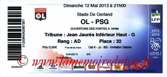 Ticket  Lyon-PSG  2012-13
