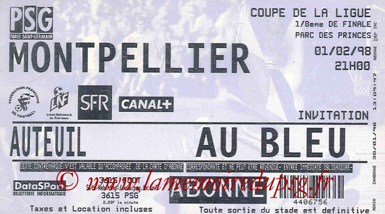 Ticket  PSG-Montpellier  1997-98