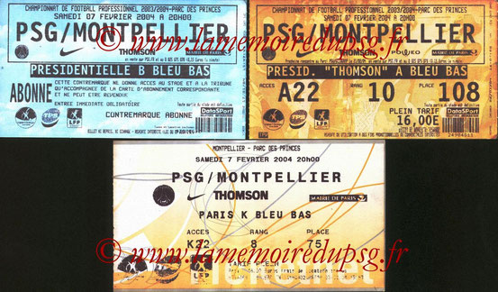 Tickets  PSG-Montpellier  2003-04