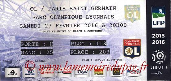 Ticket  Lyon-PSG  2015-16