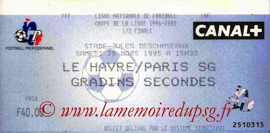 Ticket  Le Havre-PSG  1994-95
