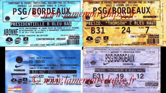 Tickets  PSG-Bordeaux  2003-04