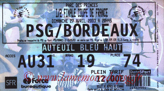 Ticket  PSG-Bordeaux  2002-03 bis