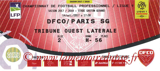 Ticket  Dijon-PSG  2017-18