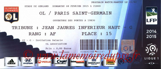 Ticket  Lyon-PSG  2014-15