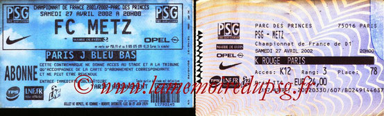 Tickets  PSG-Metz  2001-02