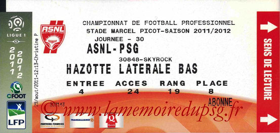 Ticket  Nancy-PSG  2011-12