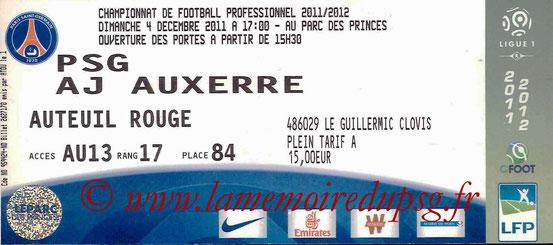 Ticket  PSG-Auxerre  2011-12