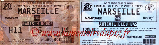 Tickets  PSG-Marseille  2001-02
