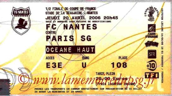 Ticket  Nantes-PSG  2005-06 (Ticketnet)