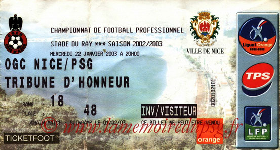 Ticket  Nice-PSG  2002-03