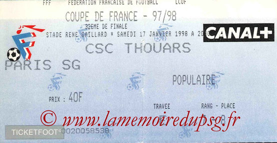 Ticket  Thouars-PSG  1997-98