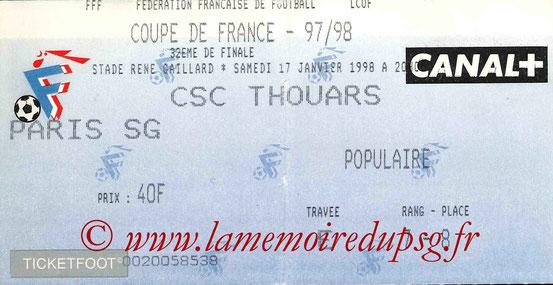 Ticket  Thouars-PSG  1997-98