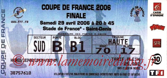 Ticket  PSG-Marseille  2005-06