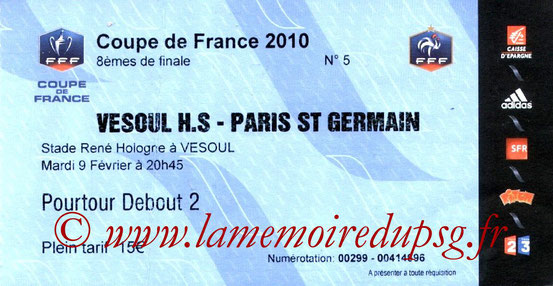 Ticket  Vesoul-PSG  2009-10
