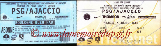 Tickets  PSG-Ajaccio  2003-04