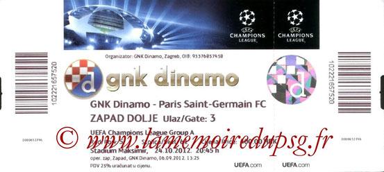 Ticket  Dinamo Zagreb-PSG  2012-13