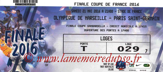 Ticket  PSG-Marseille  2015-16