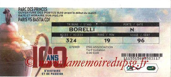 Ticket  PSG-Bastia  2016-17