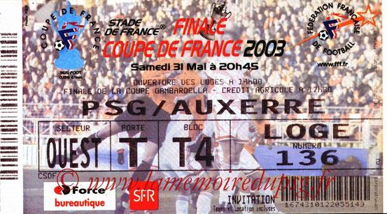 Ticket  PSG-Auxerre  2002-03