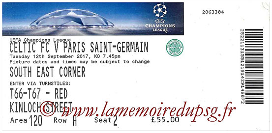Ticket  Celtic-PSG  2017-18