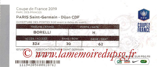 Ticket  PSG-Dijon  2018-19