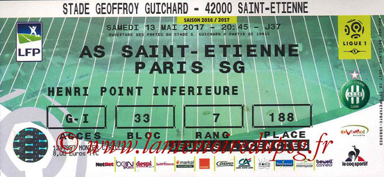 Ticket  Saint Etienne-PSG  2016-17