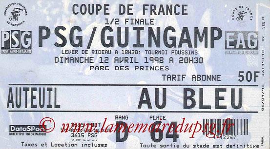 Ticket  PSG-Guingamp  1997-98