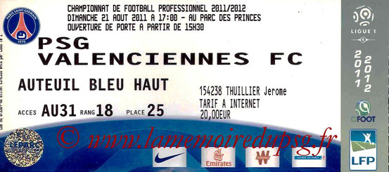 Ticket  PSG-Valenciennes  2011-12