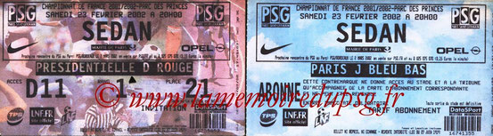 Tickets  PSG-Sedan  2001-02