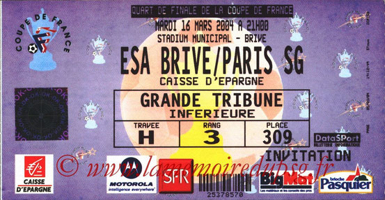 Ticket  Brive-PSG  2003-04