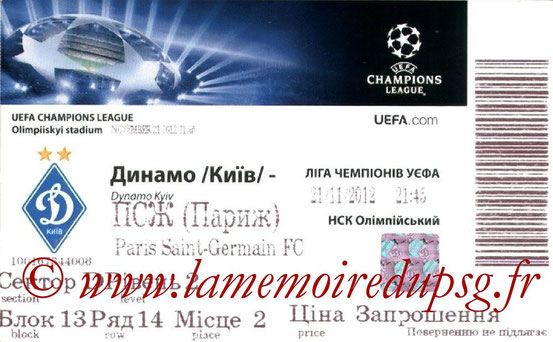 Ticket  Dynamo Kiev-PSG  2012-13