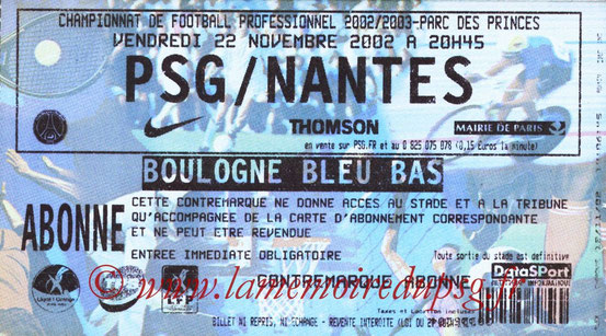 Ticket  PSG-Nantes  2002-03