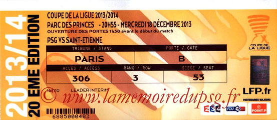 Ticket  PSG-Saint Etienne  2013-14