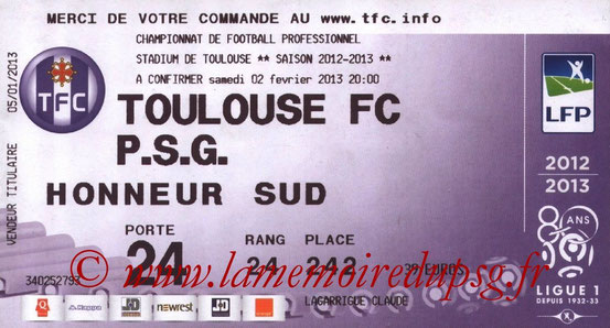 Ticket  Toulouse-PSG  2012-13