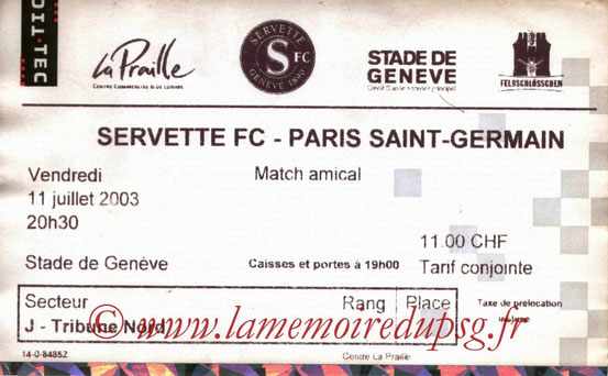 Ticket  Servette Geneve-PSG  2003-04