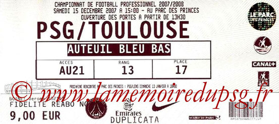 Ticket  PSG-Toulouse  2007-08