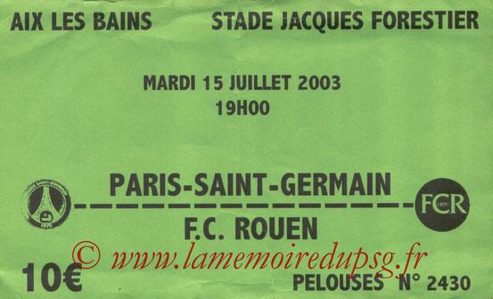 Ticket  Rouen-PSG  2003-04
