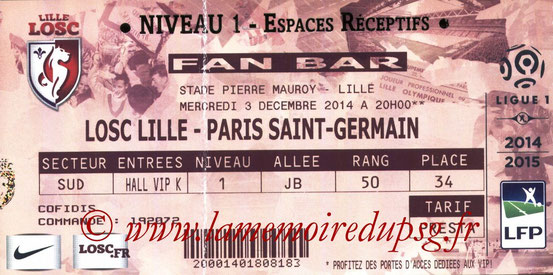 Ticket  Lille-PSG  2014-15